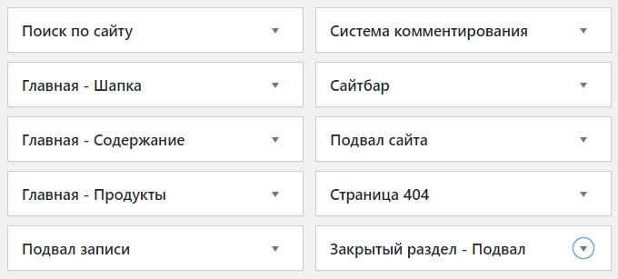 Области виджетов WordPress